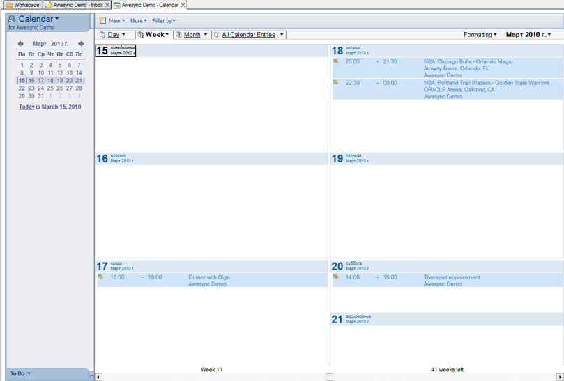 Events created in Lotus Notes Calendar