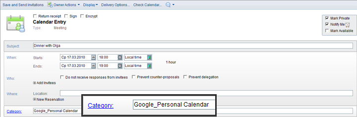 Google Calendar Name Matches Lotus Notes Category
