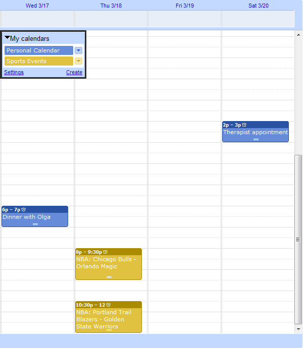 Events in 2 Google Calendars
