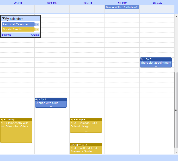 Google Calendar Synchronized by Categories