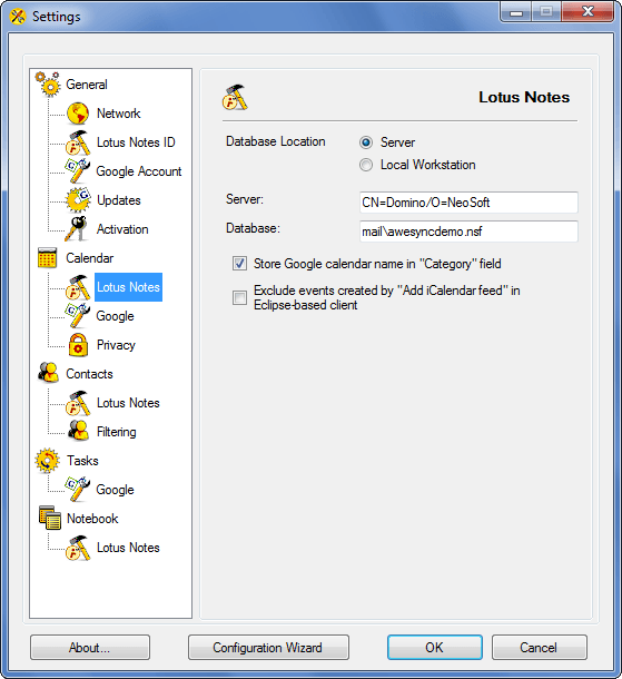 AweSync - Calendar Lotus Notes Settings