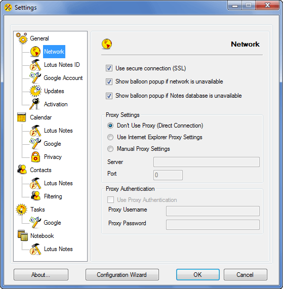 AweSync - General Network Settings