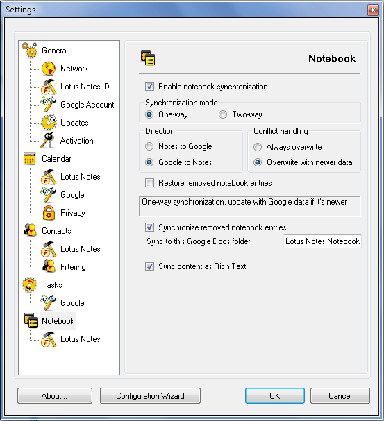 AweSync - Notebook Synchronization Settings